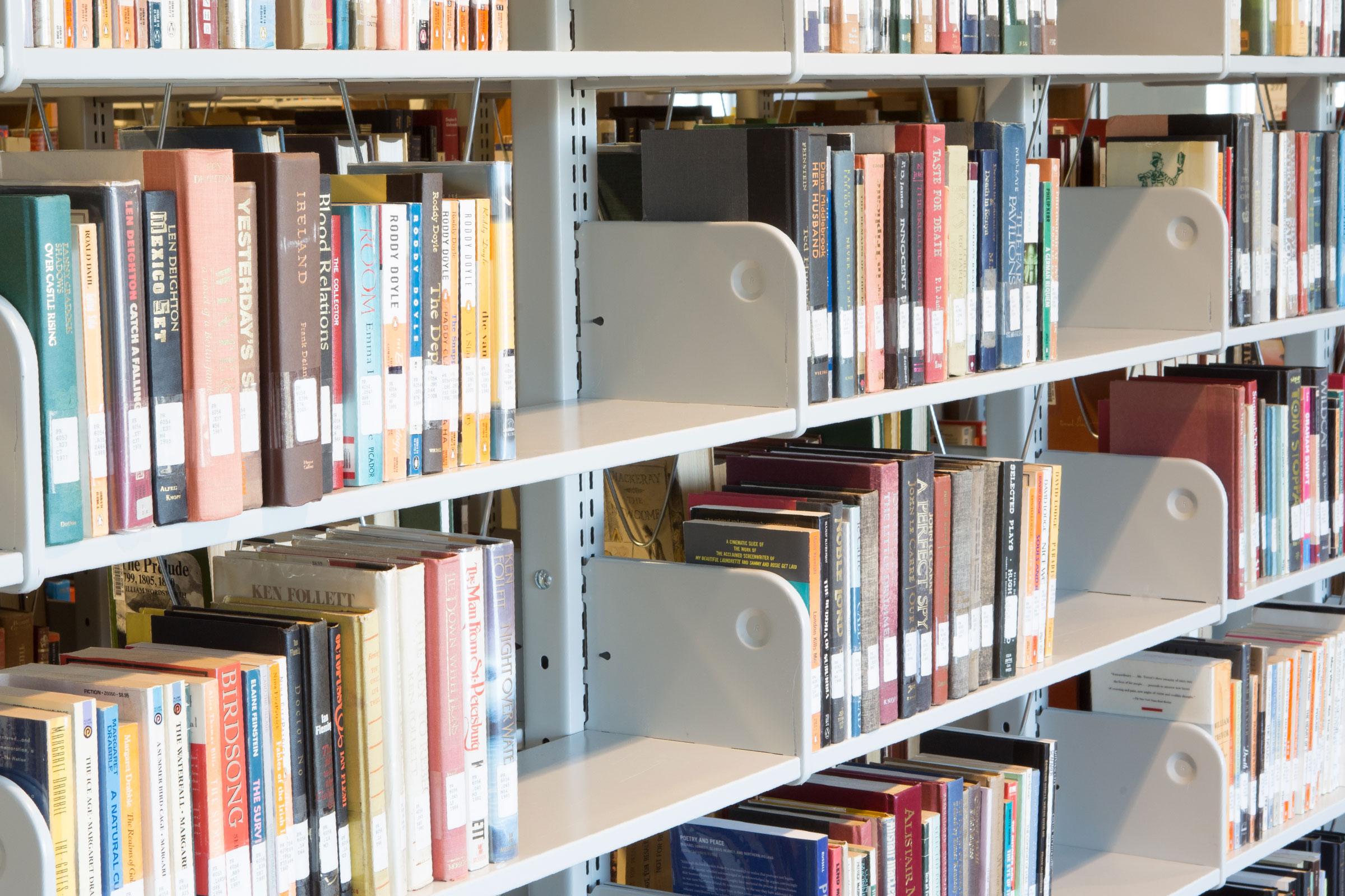 library books on shelves