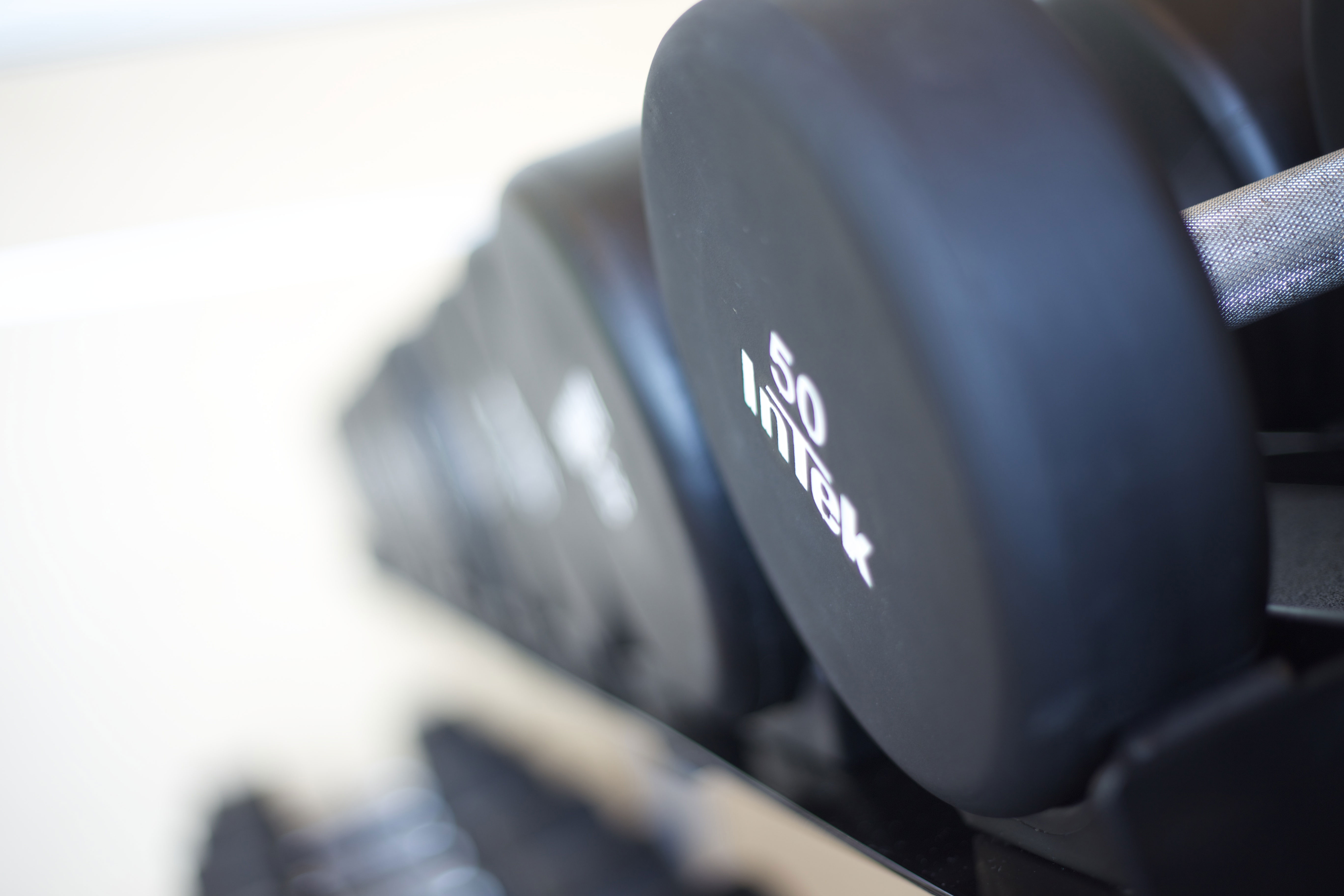 free weights on rack