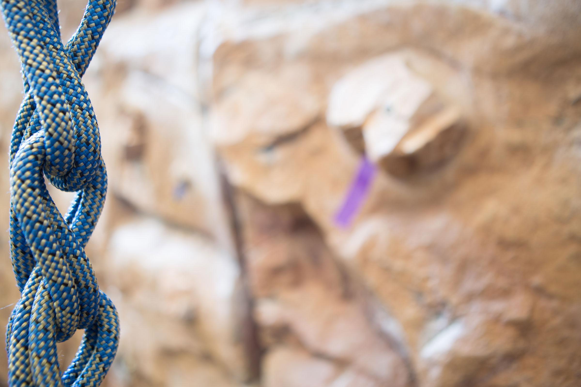 rock climbing wall and rope close up