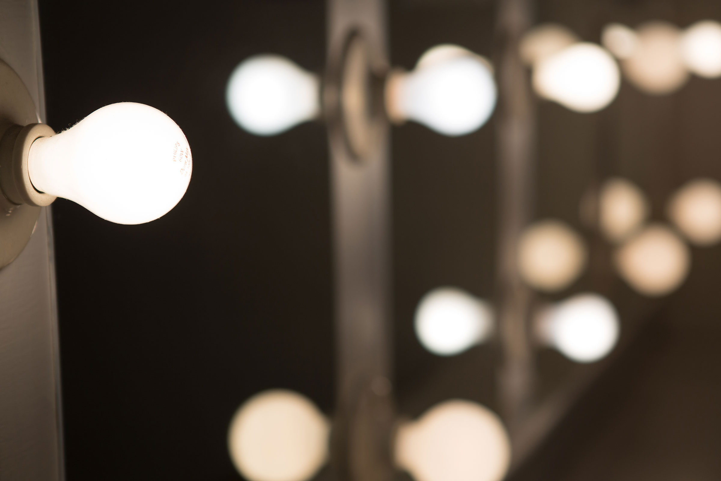 dressing room lights close up