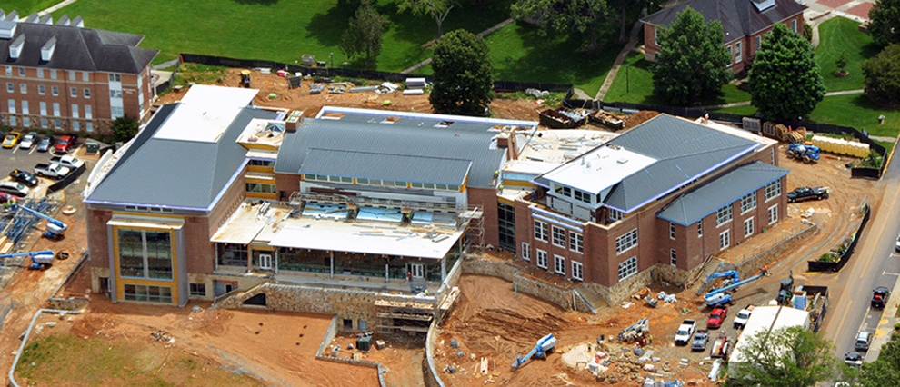 growth campus center under construction aerial view