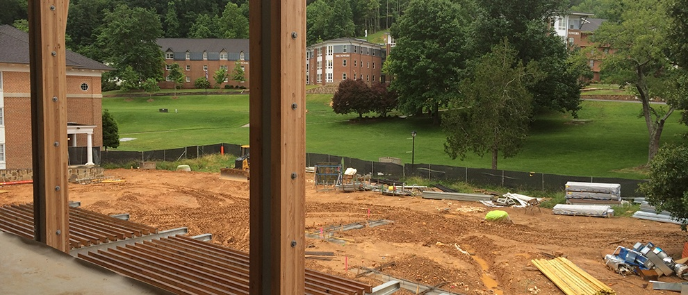 growth campus center construction view from porch