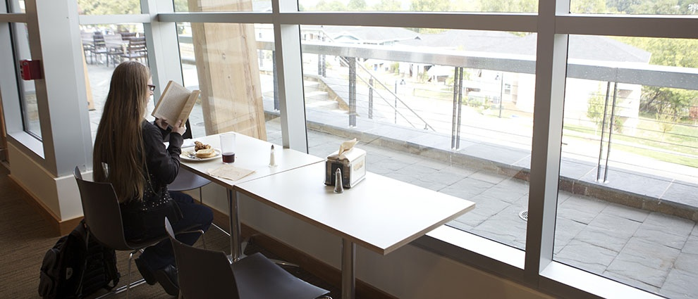 tables in front of window