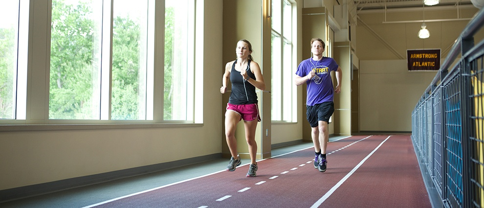 running on indoor track at recreation center