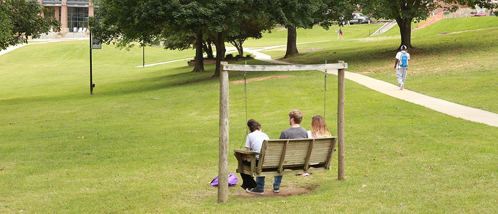 students sitting on swing
