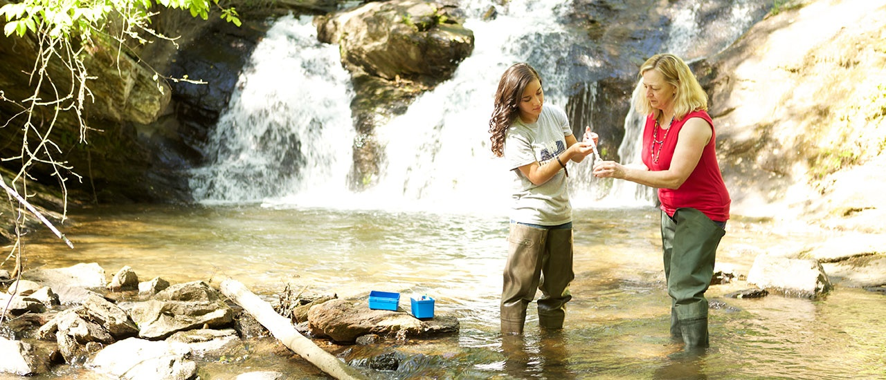 student taking sample from creek