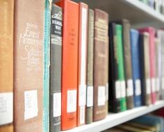 row of books on shelf