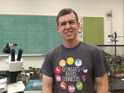 YHC Associate Professor of Biology Dr. Johnathan Davis is pictured in his classroom.