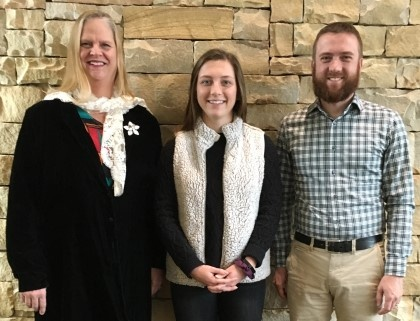 Young Harris College junior Hannah Walker (pictured middle) of Cumming, Ga., was recently named the 2019 Woodward Scholar and will study abroad in England at Harlaxton College this summer. She is joined by YHC faculty and selection committee members Dr. Ruth Looper (pictured left) and Dr. Matt Bruen (pictured right).