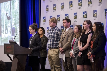 """YHC students presented their research titled """"Connecting Volunteerism, Science and Community Engagement to Protect Water Quality in a Southern Appalachian Watershed."""" Pictured are Bethany Kenney, Mallory Downs, Matthew Cowart, Devin Filicicchia, Kelsie Floyd, Elizabeth Howell and Mikayla Escamilla. The students' research was part of the Appalachian Regional Commission's Appalachian Teaching Project, and the presentation took place at the annual conference in Washington, D.C."""