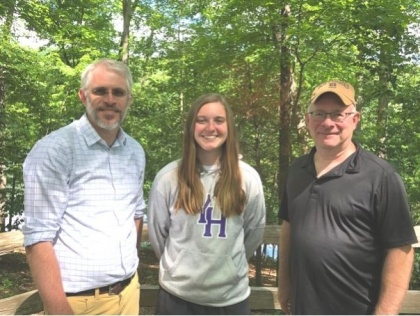 YHC student Jillian Dixon with Gerald Hodge, CEO & Founder of Appalachia Georgia Friends of the Bears, and Dr. Jonathan Micancin, Young Harris College Assistant Professor of Biology