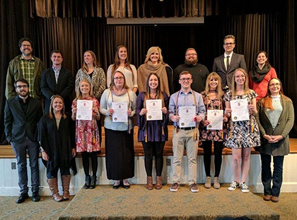 Six Young Harris College students were recently inducted into the Omega Tau chapter of the international communication studies honor society Lambda Pi Eta.