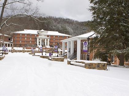 wintertime campus snow