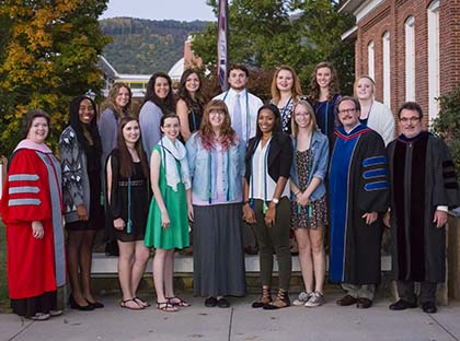 Young Harris College Students were recently inducted into Alpha Chi National Honor Society on the YHC Campus