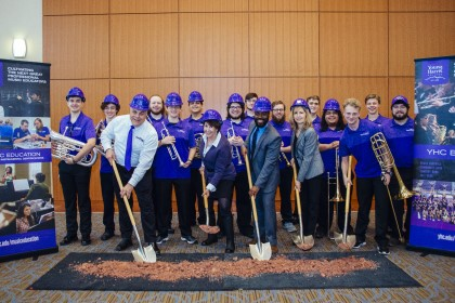 Young Harris College Director of Bands Dr. Kerry Bryant, Trustee Pam Rollins, Assistant Director of Bands Dr. Javian Brabham, Assistant to the President Teresa Kelley and the YHC Brass Ensemble break ground on a new band building.