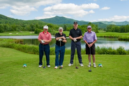 David Gurley, '69, Charlie Butler, '69, Joe Lashley and Jerry Waller, '69, won the Tom Forkner, Sr. Alumni Challenge at Young Harris College's 2019 Clay Dotson Open golf tournament.