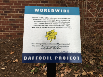 A plaque outside of the RCC notes where YHC students planted 200 bulbs for The Daffodil Project.