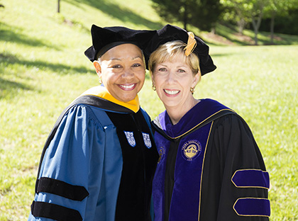 WNBA President Lisa Borders and YHC President Cathy Cox during Commencement 2017
